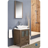 "Fresca Torino 24"" Walnut Brown Modern Bathroom Vanity with Vessel Sink FVN6224WB-VSL"
