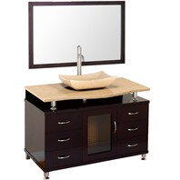 "Accara 48"" Bathroom Vanity with Drawers - Espresso w/ Ivory Marble Counter B706D-48-ESP-IVO"