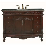 "Design Element Heritage 48"" Single Sink Vanity Set w/ Baltic Brown Stone Top DEC401A-BB"