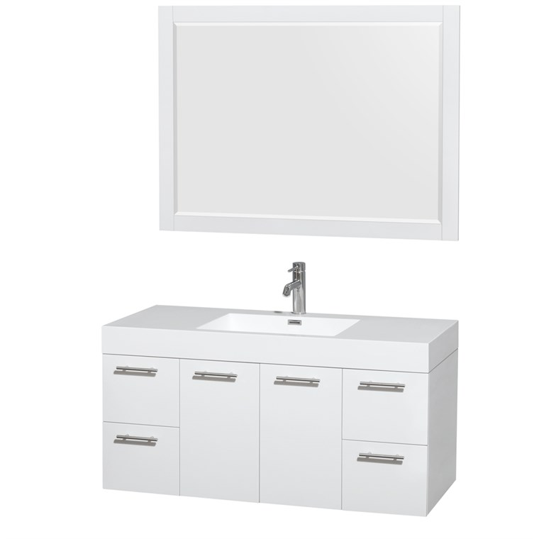 "Amare 48"" Wall-Mounted Bathroom Vanity Set with Integrated Sink by Wyndham Collection - Glossy White WC-R4100-48-VAN-WHT-"