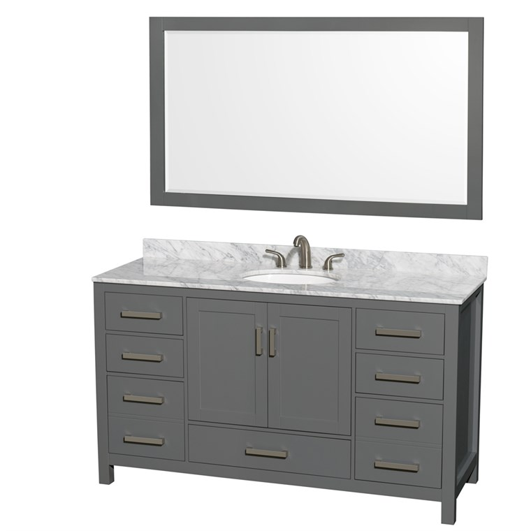 "Sheffield 60"" Single Bathroom Vanity by Wyndham Collection - Dark Gray WC-1414-60-SGL-VAN-DKG"