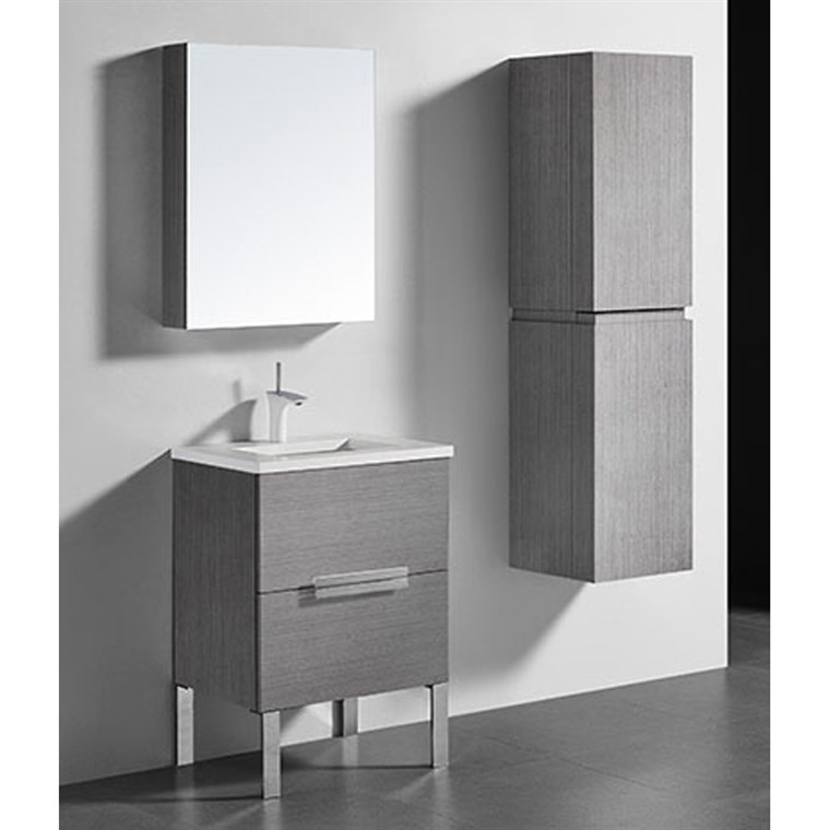 "Madeli Soho 24"" Bathroom Vanity for Quartzstone Top - Ash Grey B400-24-001-AG-QUARTZ"