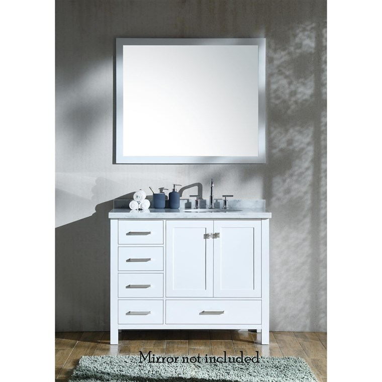 "Ariel Cambridge 43"" Single Sink Vanity with Right Offset Sink and Carrara White Marble Countertop - White A043S-R-VO-WHT"