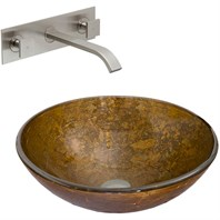 VIGO Textured Copper Glass Vessel Sink and Titus Wall Mount Faucet Set in Brushed Nickel VGT339