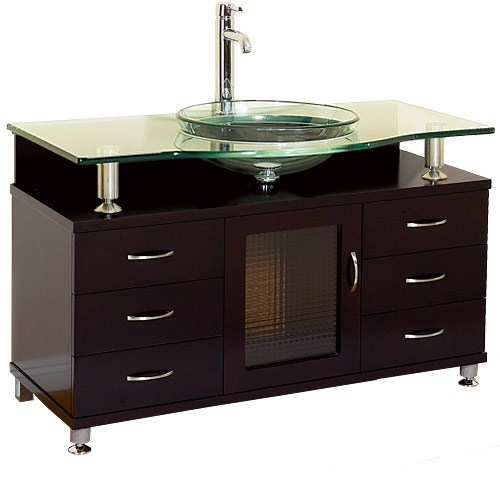 """Charlton 55"""" Bathroom Vanity with Drawers - Espresso w/ Clear or Frosted Glass Counternohtin Sale $999.00 SKU: B701D-55-ESP :"""