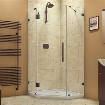 "Bath Authority DreamLine PrismLux Frameless Hinged Shower Enclosure, 38-1/4"" SHEN-2238380 by Bath Authority DreamLine"