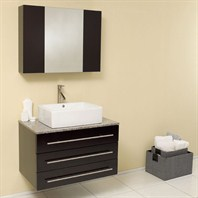 Fresca Modello Espresso Modern Bathroom Vanity with Granite Countertop FVN6183ES-GR