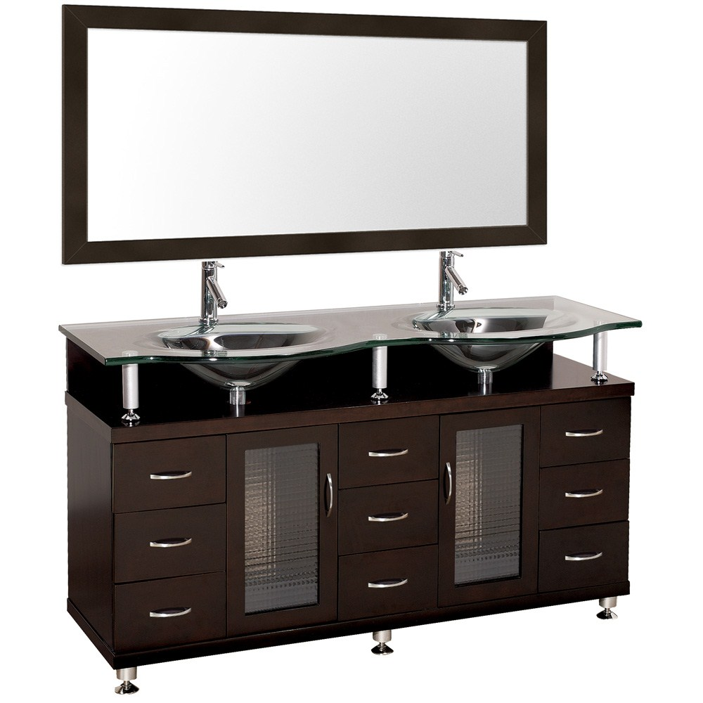 Accara 60 inch Double Bathroom Vanity with Mirror Espresso w Clear or Frosted Glass Counter