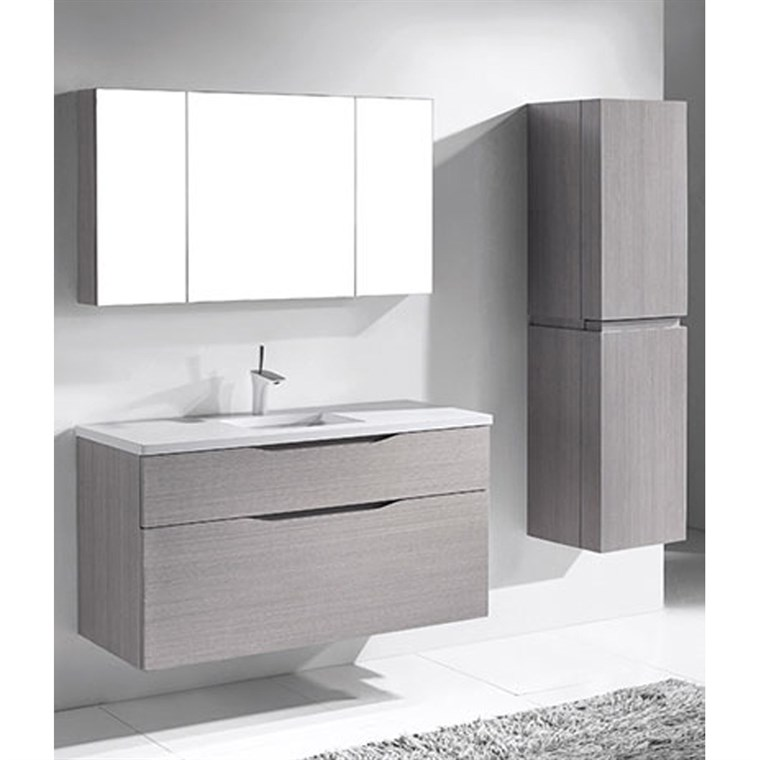 "Madeli Bolano 48"" Single Bathroom Vanity for Quartzstone Top - Ash Grey B100-48C-022-AG-QUARTZ"