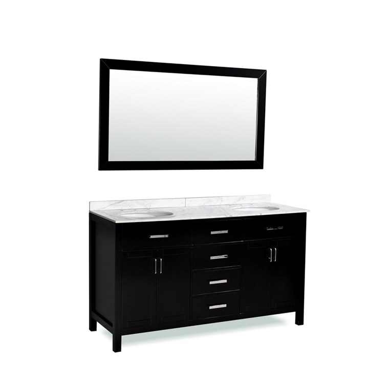 "Belmont decor Hampton 60"" Double Sink Vanity Set with Carrera White Marble Countertop - Espresso DM2D4-60-BLK"