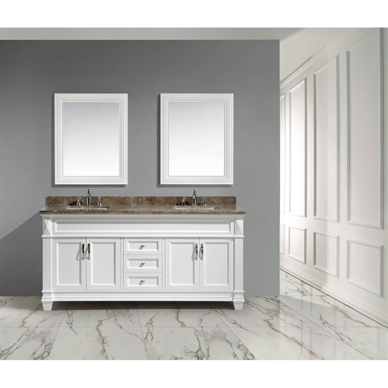 "Design Element Hudson 72"" Double Sink Vanity Set - White DEC059D-W"