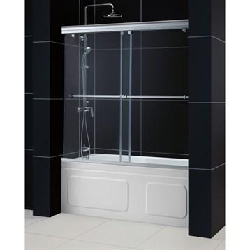 "Bath Authority DreamLine Charisma Frameless Bypass Sliding Tub Door and QWALL-Tub Backwalls Kit, 56"" to 60""... by Bath Authority DreamLine"