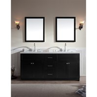 "Ariel Hamlet 73"" Double Sink Vanity Set with White Quartz Countertop in Black F073D-WQ-BLK"