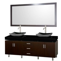 "Malibu 72"" Double Bathroom Vanity Set by Wyndham Collection - Espresso Finish with Black Absolute Granite Counter, Black Granite Sinks, and Handles WC-CG3000H-72-ESP-BLK-GR"