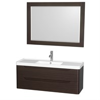 "Murano 48"" Wall-Mounted Bathroom Vanity Set with Integrated Sink by Wyndham Collection - Espresso WC-7777-48-SGL-VAN-ESP"