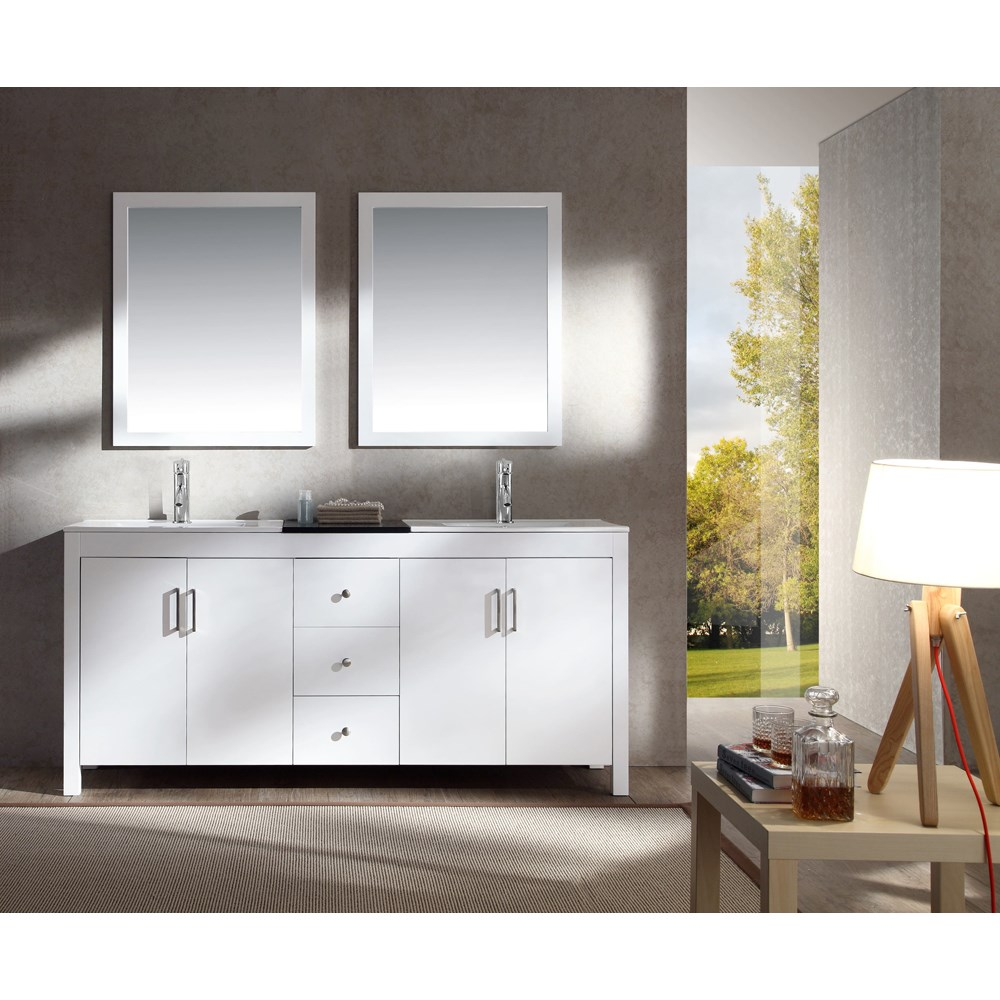 "Ariel Hanson 72"" Double Sink Vanity Set with Black Granite Countertop - Whitenohtin Sale $1549.00 SKU: K072D-WHT :"