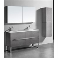 "Madeli Soho 60"" Double Bathroom Vanity for Integrated Basin - Ash Grey B400-60D-001-AG"