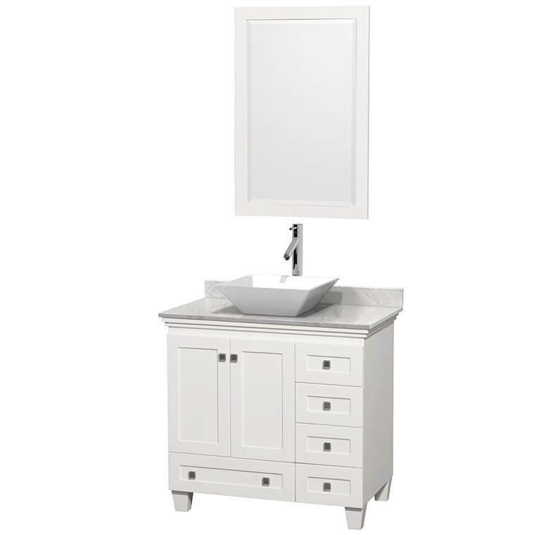"Acclaim 36"" Single Bathroom Vanity for Vessel Sink - White WC-CG8000-36-SGL-VAN-WHT"