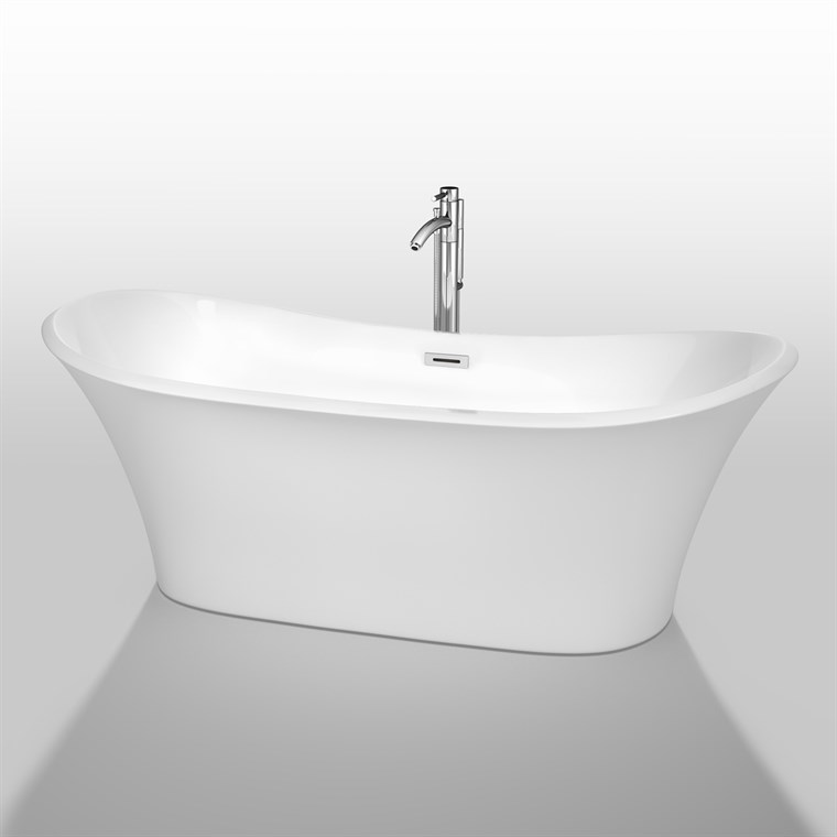 "Bolera 71"" Soaking Bathtub by Wyndham Collection - White WC-BTK1528-71"