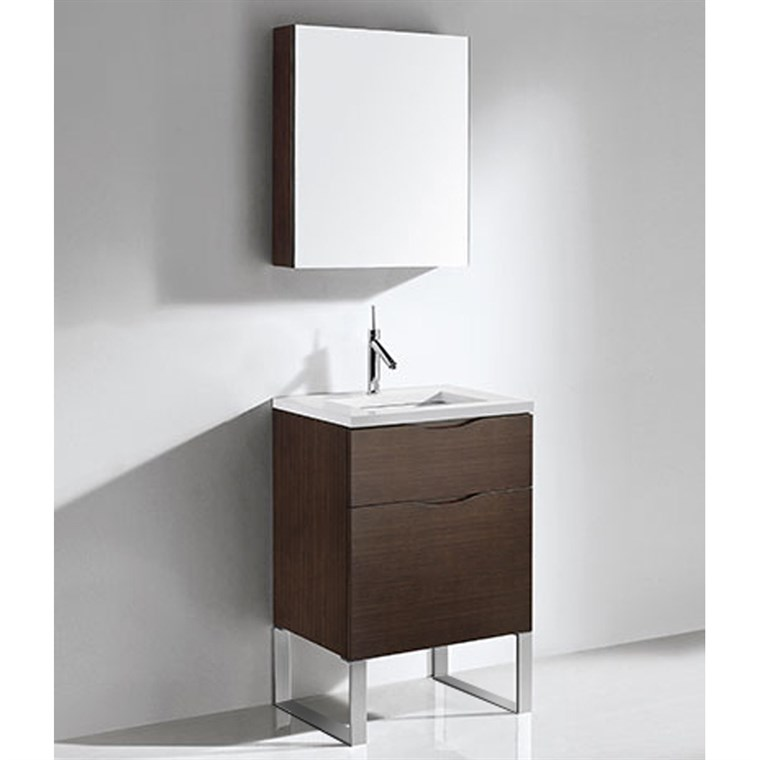"Madeli Milano 24"" Bathroom Vanity for Quartzstone Top - Walnut B200-24-021-WA-QUARTZ"