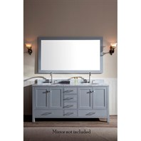 "Ariel Cambridge 73"" Double Sink Vanity with Carrara White Marble Countertop - Grey A073D-VO-GRY"
