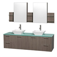 "Amare 72"" Wall-Mounted Double Bathroom Vanity Set with Vessel Sinks by Wyndham Collection - Gray Oak WC-R4100-72-GROAK-DBL"