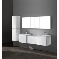 "Madeli Euro 72"" Double Bathroom Vanity with Integrated Basins - Glossy White 2X-B930-24-002-GW, UC930-24-007-GW"
