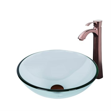 Vigo Crystalline Glass Vessel Sink and Otis Vessel Faucet Set in a Oil Rubbed Bronze Finish VGT897 by Vigo Industries