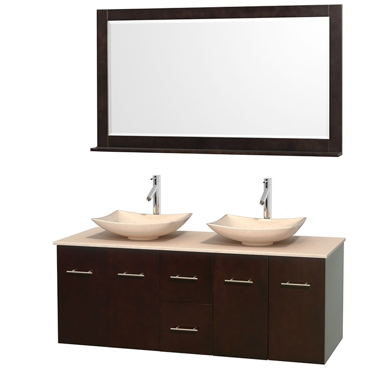"Centra 60"" Double Bathroom Vanity for Vessel Sinks by Wyndham Collection - Espresso WC-WHE009-60-DBL-VAN-ESP_"