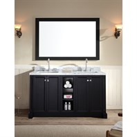 "Ariel Westwood 61"" Double Sink Vanity Set with Carrera White Marble Countertop - Black C061D-BLK"