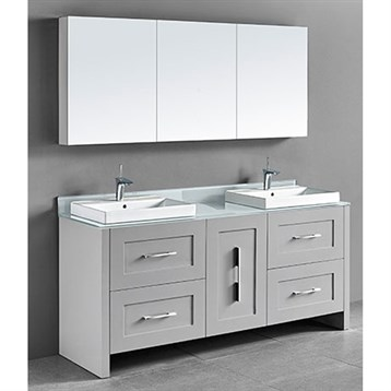 "Madeli Retro 72"" Double Bathroom Vanity for Glass Counter and Porcelain Basin, Whisper Grey B700-72D-001-WG-GLASS by Madeli"