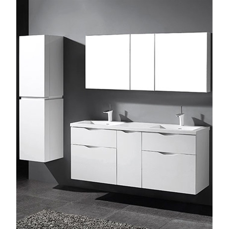 "Madeli Bolano 60"" Double Bathroom Vanity for Integrated Basin - Glossy White B100-60D-022-GW"