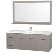 "Centra 60"" Single Bathroom Vanity for Undermount Sinks by Wyndham Collection - Gray Oak WC-WHE009-60-SGL-VAN-GRO-"