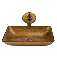 VIGO Rectangular Copper Glass Vessel Sink and Waterfall Faucet Set VGT009