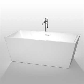 """Sara 63"""" Soaking Bathtub by Wyndham Collection, White WC-BTK1514-63 by Wyndham Collection®"""