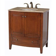 "Stufurhome 32"" Stufurhome Single Sink Bathroom Vanity with Travertine Marble Top - Dark Wood GM-2205-32-TR"