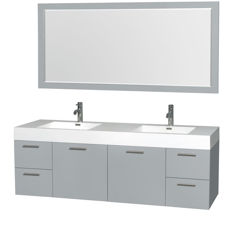 "Amare 72"" Wall-Mounted Double Bathroom Vanity Set with Integrated Sinks by Wyndham Collection - Dove Gray WC-R4100-72-VAN-DVG--"