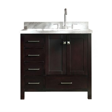 Ariel Cambridge 37 Single Sink Vanity With Right Offset Sink And Carrara White Marble