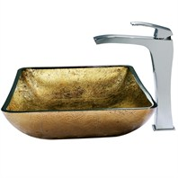 VIGO Rectangular Copper Glass Vessel Sink and Faucet Set in Chrome VGT156