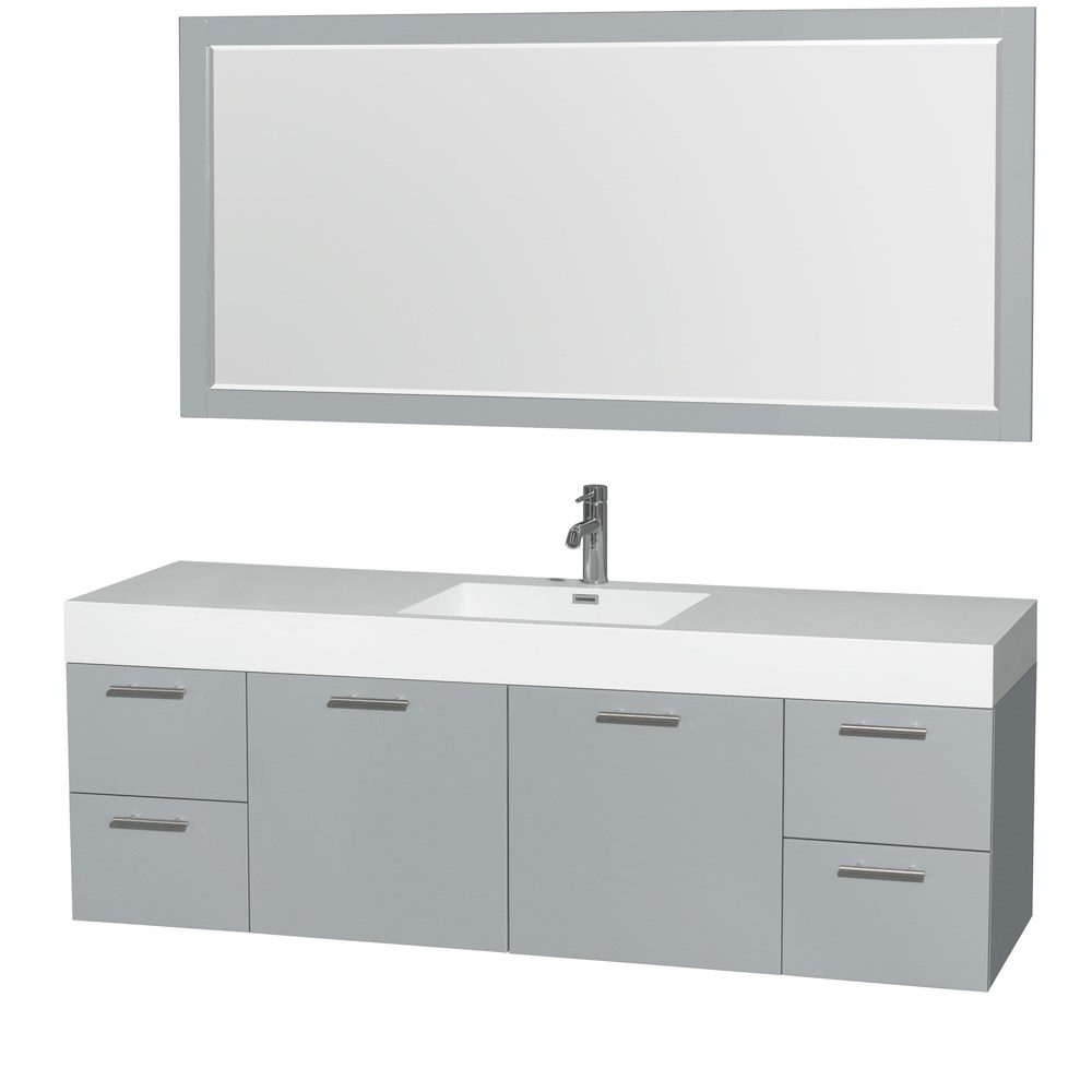 "Amare 72"" Single Bathroom Vanity in Dove Gray, Acrylic-Resin Countertop, Integrated Sink, and 70"" Mirror WCR410072SDGARINTM70"