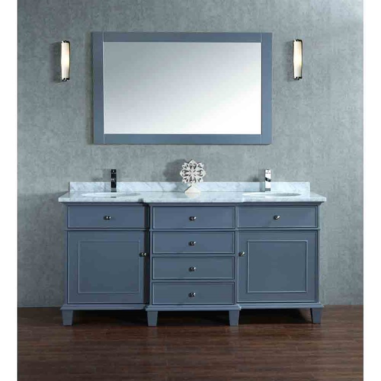 "Stufurhome Cadence Grey 60"" Double Sink Bathroom Vanity with Mirror - Grey HD-7000G-60-CR"
