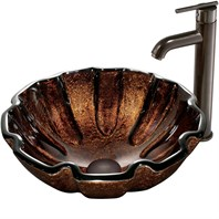 VIGO Walnut Shell Glass Vessel Sink and Faucet Set in Oil Rubbed Bronze VGT171
