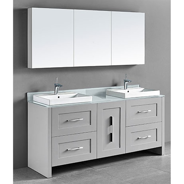 "Madeli Retro 72"" Double Bathroom Vanity for Glass Counter and Porcelain Basin - Whisper Grey B700-72D-001-WG-GLASS"