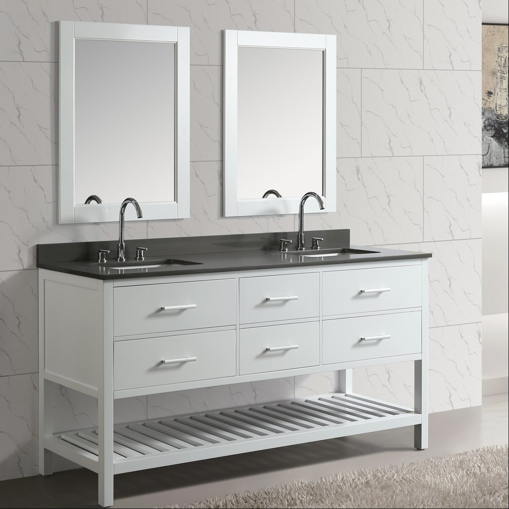 "Design Element London Cambridge 72"" Double Sink Vanity Set - White DEC077B-W-GT"