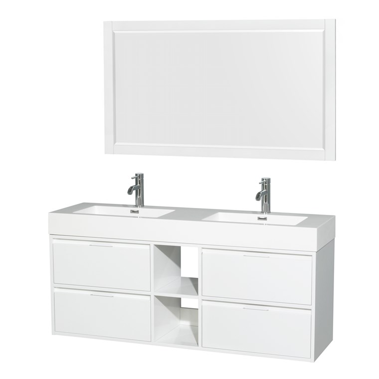 "Daniella 60"" Wall-Mounted Double Bathroom Vanity Set With Integrated Sinks by Wyndham Collection - Glossy White WC-R4600-60-VAN-WHT"