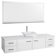 "Bianca 72"" Wall-Mounted Single Bathroom Vanity - White WHE007-72-WHT-SGL"