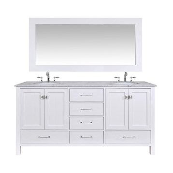 "Stufurhome 72"" Lissa Double Sink Bathroom Vanity, Pure White GM-6412-72-WHT by Stufurhome"