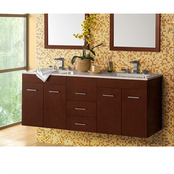 "Ronbow Bella 62"" Double Vanity Undermount, Dark Cherry Ronbow 011223-H01-X2-62 by Ronbow"