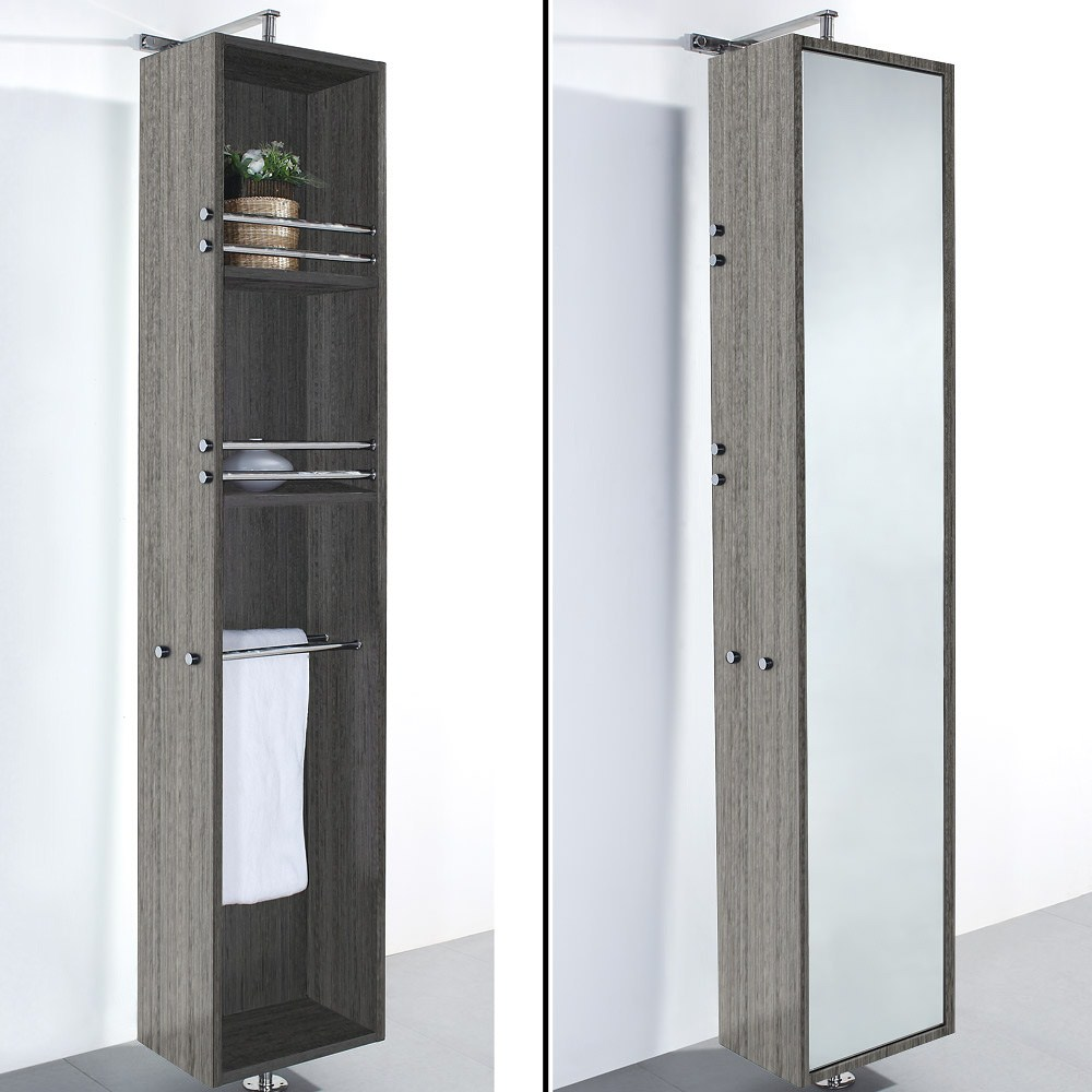 April Rotating Floor Cabinet with Mirror by Wyndham Collection - Gray Oaknohtin Sale $699.00 SKU: WC-V202-GROAK :