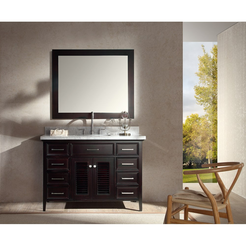 "Ariel Kensington 49"" Single Sink Vanity Set with Carrera White Marble Countertop - Espresso 